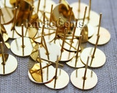 Earring Stud Post 10mm Pad Gold 12mm Long - 50 pcs