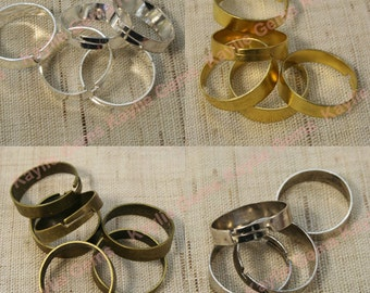 Adjustable Ring Blank Sterling Silver Plated Simple Band Silver, Antique Brass, Antique Silver, Raw Brass, RN-AJ06- 12 pcs