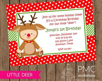 First Birthday Christmas Party Invitation - 1.00 each with envelope