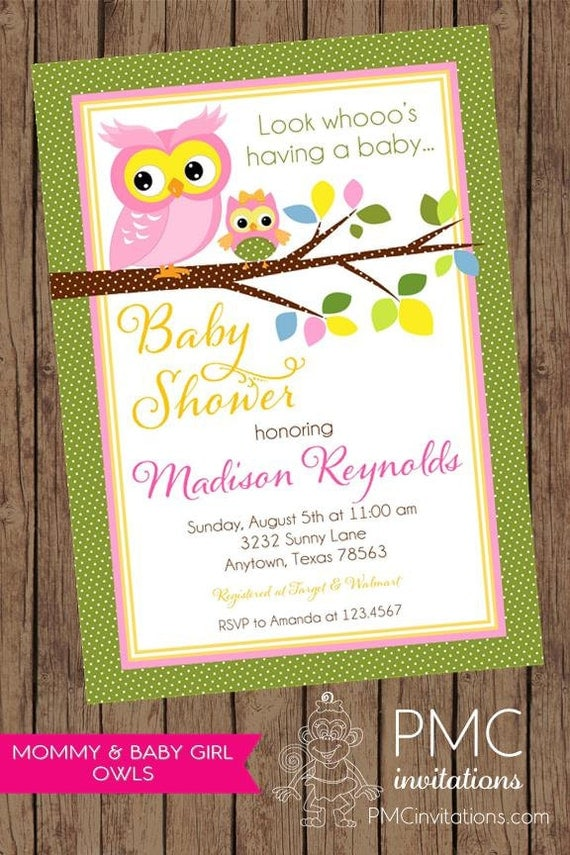 Pink, Green, Yellow Owl Baby Shower Invitations - 1.00 each with ...
