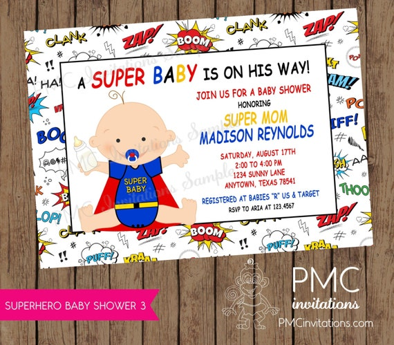 superhero baby shower invitations each with envelopes by paper