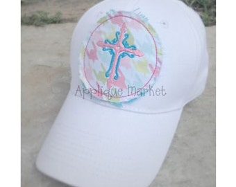 Machine Embroidery Design Applique Raggy Circle with Cross Hat Tutorial INSTANT DOWNLOAD