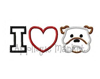 Machine Embroidery Design Applique I Heart Dog INSTANT DOWNLOAD