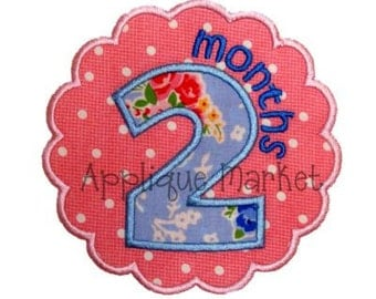 Machine Embroidery Design Applique Scallop Circle Month Set INSTANT DOWNLOAD