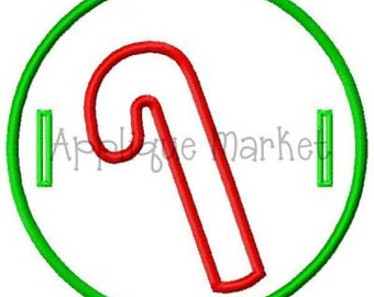 Machine Embroidery Design Applique In The Hoop Candy Cane Label INSTANT DOWNLOAD