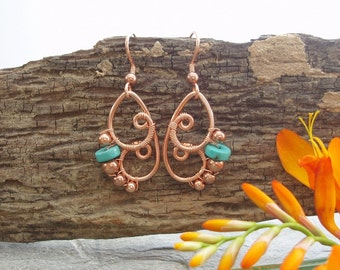 Butterfly Wing Earrings - Turquoise Heshi and copper