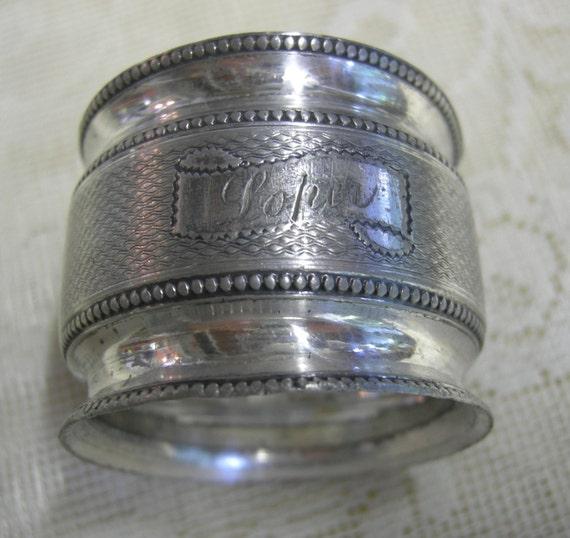 antique silver napkin ring engraved