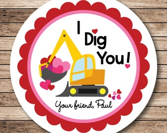 I Dig You Construction . Personalized I Dig You Valentine Stickers or Tags