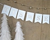 Tis the Season Banner ~ white 2 point banner with gold glitter letters~Christmas decor, holiday decor, holiday entertaining, New Year banner