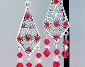 Long red earrings, Swarovski crystal chandelier, romantic birthday gift for her, silver filigree diamond shape, bridal, dramatic dressy