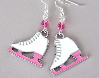 Figure skater earrings, pink and white ice skating earrings, I love to skate, enamel, Swarovski crystal