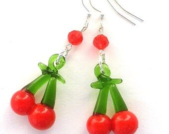 Cherry earrings, red glass earrings, Swarovski crystal earrings, Valentine's Day earrings, cherry lampwork earrings