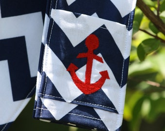 Anchor Camera Strap Cover with lens cap pocket and padding included - Monogrammed Navy Chevron/ Anchor