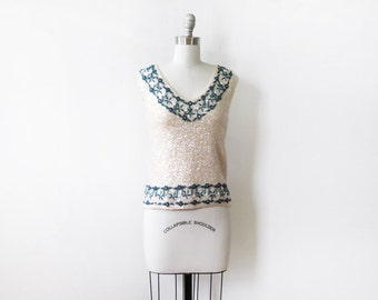 vintage sequin wool top, 60s creamy white and blue beaded sequin top, wool knit sequin shell
