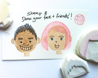 diy face stamp set. boy and girl hand carved rubber stamps. draw faces. birthday scrapbooking. holiday crafts. set of 3