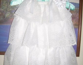 Custom Flower Girls Peasant Dress Wedding White Beach Portrait Photo Heirloom Layers Eyelet Lace Ruffles Collar Size  2t 3t 4t 5 6 7 8 10 12