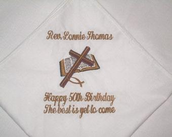 Custom Mens Monogrammed Handkerchiefs Personalized Handkerchiefs Cross Bible Church Pastors Handkerchief Pocket Square Elder