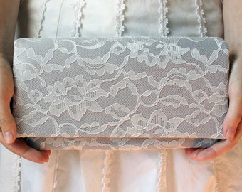 The AMELIA CLUTCH - Gray Satin and Ivory Lace Clutch - Wedding Clutch Purse - Bridesmaid Bag