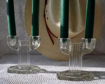 Art Deco Cactus Vintage Glass Double Candlestick Candleholders
