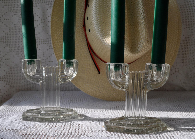 art deco cactus vintage glass double candlestick candleholders. Black Bedroom Furniture Sets. Home Design Ideas