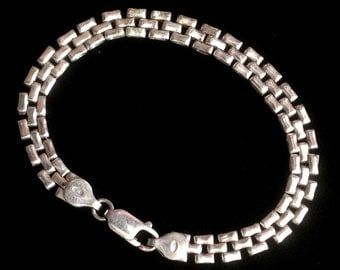 Unusual Vintage Sterling Silver Wide Chain Bracelet - Marked 925 and Italy