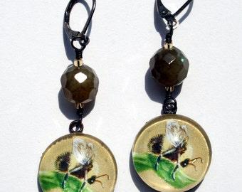 Bumble Bee Dangle Earrings by Ilona Cutts