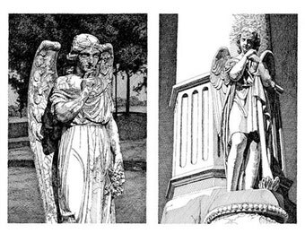 Black & White Reproduction Print of Angels Round My Head Drawing