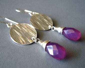 Argentium Silver Earrings, Hand Forged Earrings, Wire Wrapped, Purple Chalcedony Earrings, Dangle, Drop, Purple Earrings