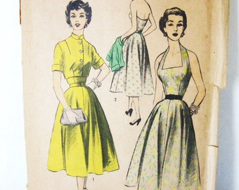Unused FF Vintage 50s Pattern Advance 6393, Halter Dress & Bolero Jacket Set, Full Skirt, Open Back, Mandarin Collar Cropped Top, Bust 32