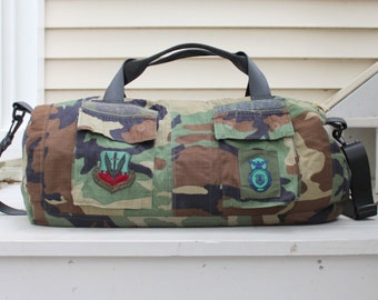 ACU Duffel (Duffle) Bag made from YOUR Upcycled Army Jacket - Air Force - Marine - Memory Bag