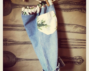 Upcycled Baby jeans with Vintage Barkcloth
