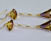 Ametrine Earrings 14k Gold Fill Ametrine Lond Dangle Earrings