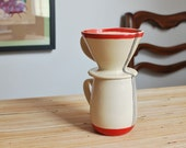 Wheel Thrown Pour Over Coffee Mug Set in Red Stripes