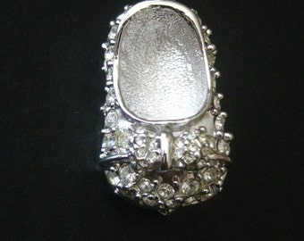 Vintage Signed Rhinestone Mary Jane Shoe Pin Brooch PCI New Old Stock NOS