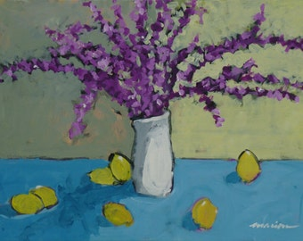 """Kitchen Art Vase Painting, """"Flowers and Lemons,"""" 18x24 in."""