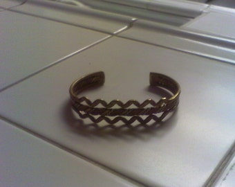 Vintage Copper, Silver and Brass  cuff bracelet