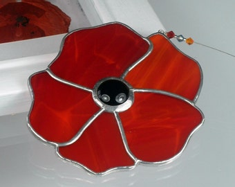 Stained glass Poppy Suncatcher & Window ornament