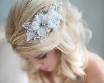 Wedding Flower Hair Comb, Rhinestone Bridal Headpiece, Lace Floral Headpiece, Flower Headpiece
