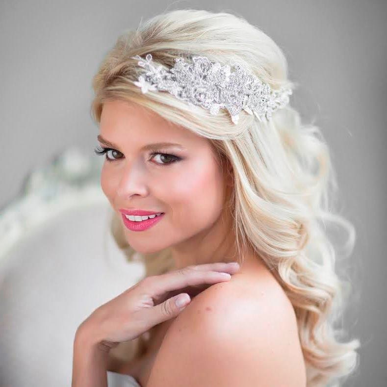 Blonde Hair Wedding Hair Style: Wedding Hair Accessory Rhinestone Bridal Head Piece Lace