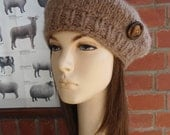 TEDDY BEAR LOVE wood button brown beret tam by Irish granny unique hand knit wool hat