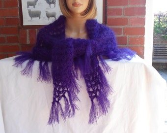 ROYAL purple fine mohair crochet shawl  by irish granny large triangle wrap with fringes OOAK