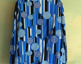 XL Vintage 60s 70s Mod Op Art Geometric Circles Blouse Blue Pyketts Bold Fun Costume Psychedelic Targets As Is