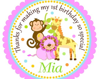 Jungle Animals Stickers, Personalized Labels, Safari Birthday Party, Safari Baby Shower - set of 12