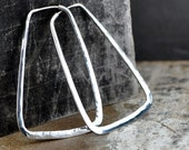 Rectangle hoop earrings, sterling silver geometric hoop,  trapezoid hoop