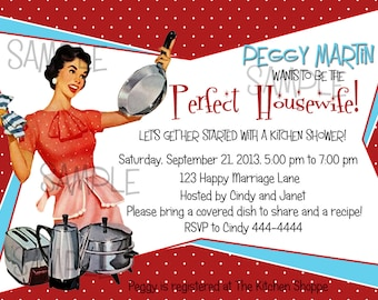 Retro Housewife Housewarming Shower or Party Invitation, Digital Download, C-456-A, Invitation, Personalized