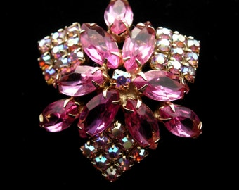 Vintage Pin or Brooch with Pink and Aurora Borealis Crystals