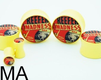 "7/16"" (11mm) Reefer Madness Vintage Movie Poster BMA Plugs Pair"