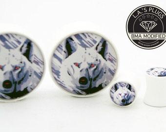 2g (6mm)  White Wolf BMA Plugs Single Flare Pair