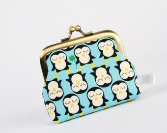 Deep mum - Kawaii penguins on blue - metal frame purse