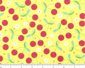 Tutti Frutti Cherries Cherry Yellow Red Fruit for Timeless Treasures - 1 yard